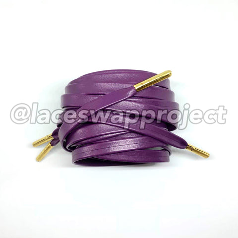 Purple Premium Leather Shoelaces with Gold aglets