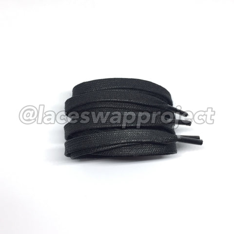 Black Flat Waxed Shoelaces
