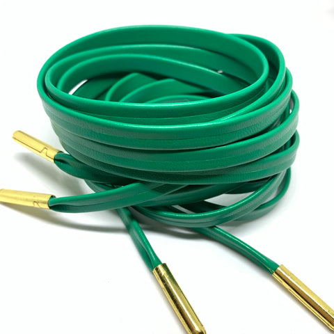 Green Premium Leather Shoelaces with Gold Aglets