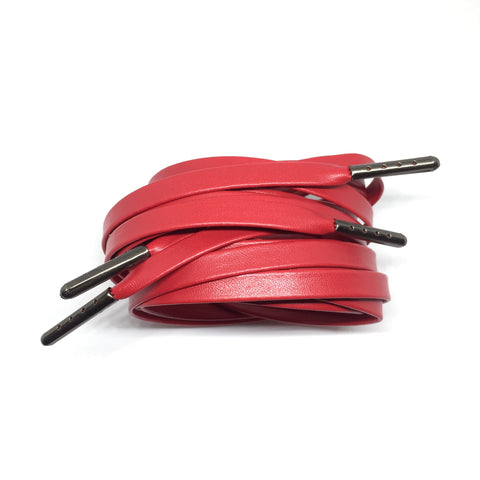 Red Premium Leather Shoelaces with Black Chrome aglets