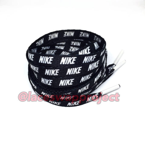 Black Shoelaces with White Print