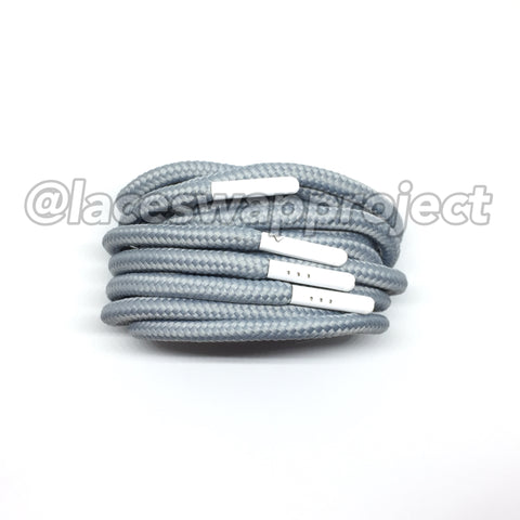 Grey Thick Rope Laces with White Aglets