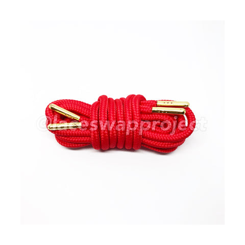 Red Thick Rope Laces with Metal Aglets