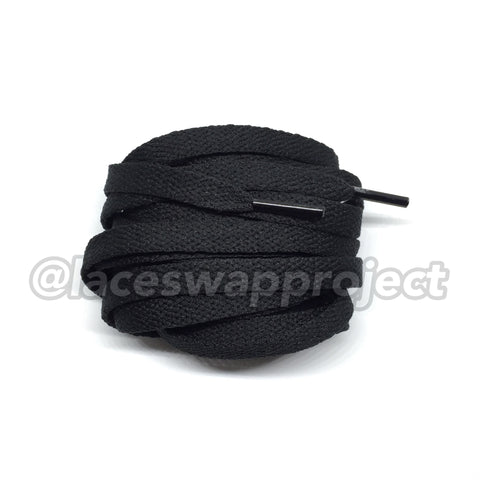 Black Flat Cotton Shoelaces