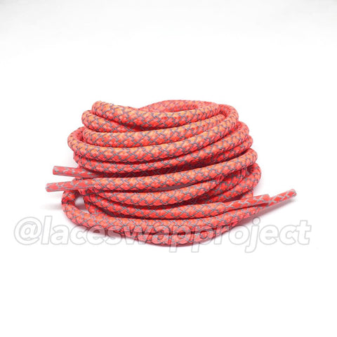 Bright Crimson Reflective Rope Laces
