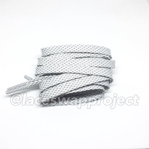 White Flat Reflective Shoelaces