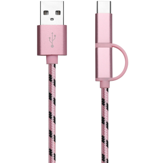 3 in 1 USB Cable (Pink)