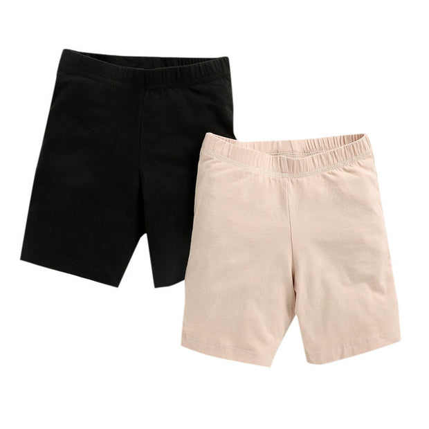 Girls Shorts -  Nude and Black Combo - Pack of 2