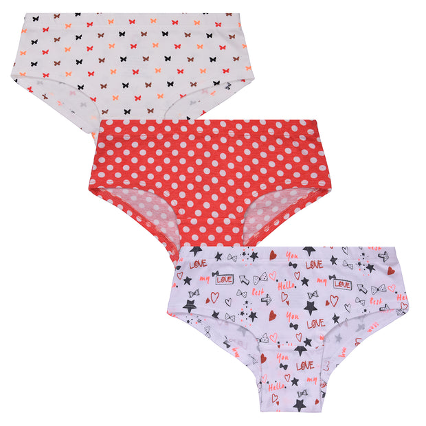 Girl's Hipster -All over Print- Pack of 3
