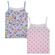 Girls Vests - Floral and Polka dot Print- Pack of 2