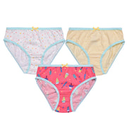 Girls Briefs - Pink and Blue Owl Print - Pack of 3