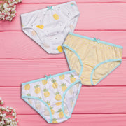 Girls Briefs - Pineapple and Citrus Print - Pack of 3