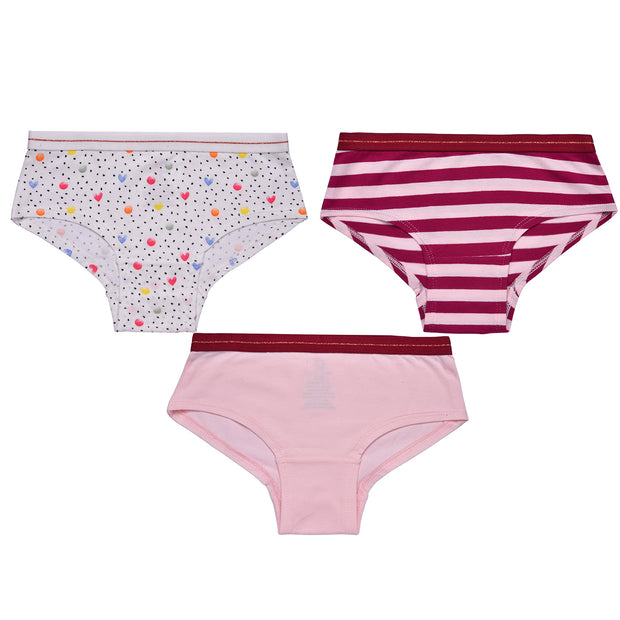 Girls Hipster Briefs - Polka Dots and Hearts Print - Pack of 3