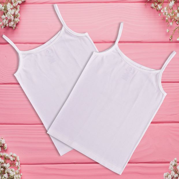 Girls Cami Vests -White Combo - Pack of 2