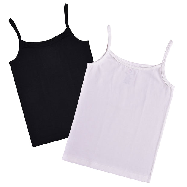 Girls Cami Vests -White and Black Combo - Pack of 2