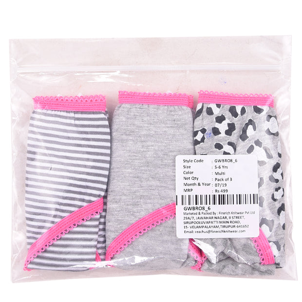 Girls Briefs - Black and White Print - Pack of 3
