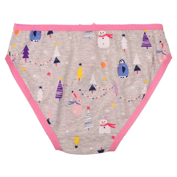 Girls Briefs - Christmas Print - Pack of 5