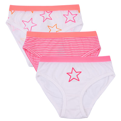 Girls Briefs - Pink and White Star Print - Pack of 3