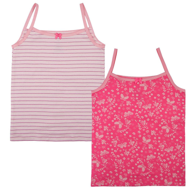 Girls Cami Vests - Floral and Butterfly Print - Pack of 2