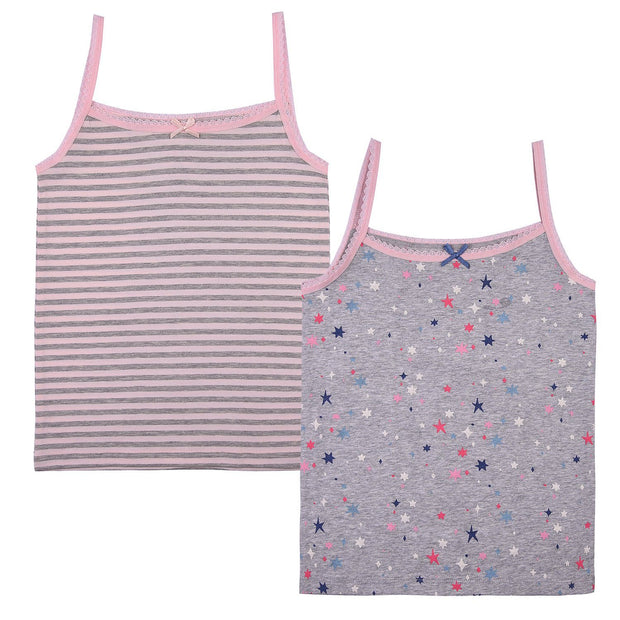 Girls Cami Vests -  Lines and Little Stars Print - Pack of 2