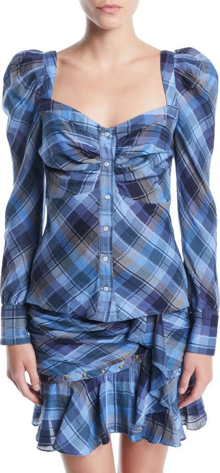 Veronica Beard Frankie Plaid Puff-Sleeve Button-Front Top / Sz 2