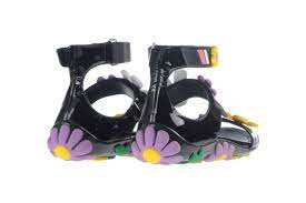 Prada Black Flower Applique Flat Sandals / Size 35