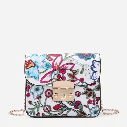 Flower Embroidery PU Chain Cross Body Bag