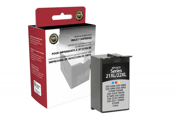 CIG Remanufactured High Yield Color Ink Cartridge for Dell Series 21XL/22XL