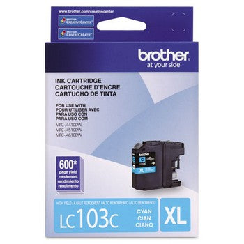 Brother LC-103C Cyan, High Yield Ink Cartridges