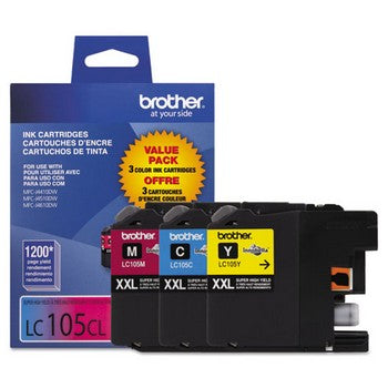 Brother LC-105 Cyan, Magenta, Yellow, Super High Yield, 3/Pack Ink Cartridges