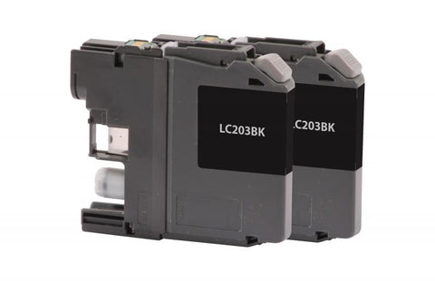 CIG Remanufactured High Yield Black Ink Cartridge for Brother LC203, 2-Pack