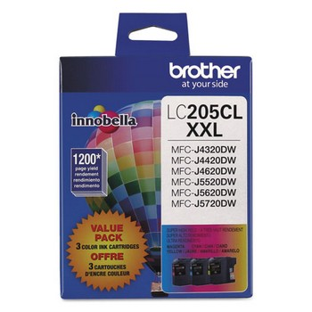 Brother LC-205 Cyan, Magenta, Yellow, Super High Yield Ink Cartridge, Brother LC2053PKS