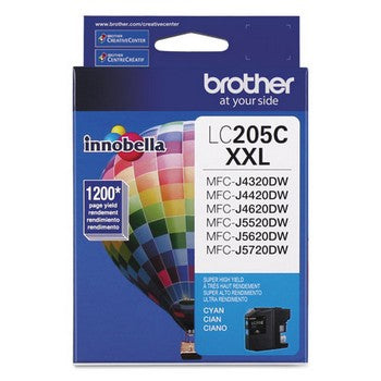 Brother LC-205C Cyan, Super High Yield Ink Cartridge, Brother LC205C