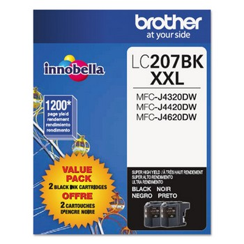 Brother LC-207 Black, Super High Yield, 2/Pk Ink Cartridge, Brother LC2072PKS