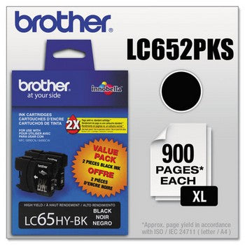 Brother LC-65 Black, Twin Pack, High Capacity Ink Cartridge