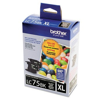 Brother LC-75BK Black, High Yield Ink, 2/Pack Ink Cartridges