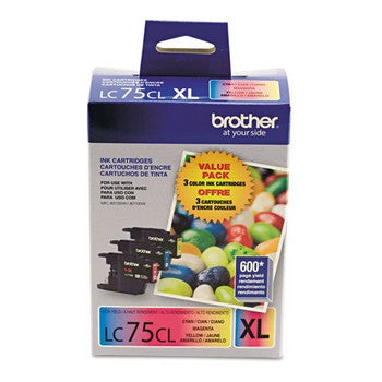 Brother LC-75CMY Cyan, Magenta, Yellow, High Yield, 3/Pack Ink Cartridges