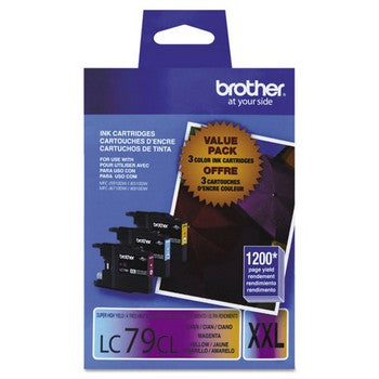 Brother LC-79CMY Cyan, Magenta, Yellow, Super High Yield Ink, 3/Pack Ink Cartridges