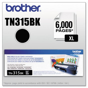 Brother TN 315BK Black Toner Cartridge, 6000 pages, High Yield