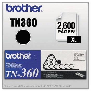 Brother TN 360 High Yield Black Toner Cartridge