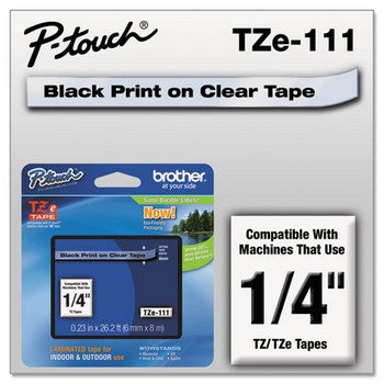 Brother TZE-111 Labeling Tape, 1/4w, Black on Clear