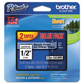 Brother TZE-131 2PK Labeling Tapes, 1/2w, Black on Clear, 2/Pack