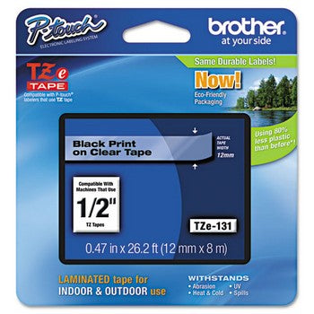 Brother TZE-131 Labeling Tape, 1/2w, Black on Clear