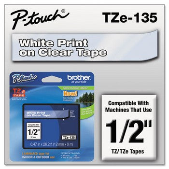 Brother TZE-135 Labeling Tape, 1/2w, White on Clear