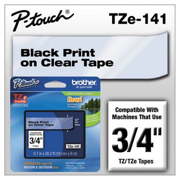 Brother TZE-141 Labeling Tape, 3/4w, Black on Clear