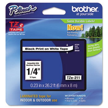 Brother TZE-211 Labeling Tape, 1/4w, Black on White