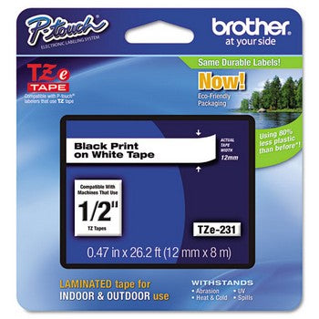 Brother TZE-231 Labeling Tape, 1/2w, Black on White