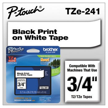 Brother TZE-241 Labeling Tape, 3/4w, Black on White