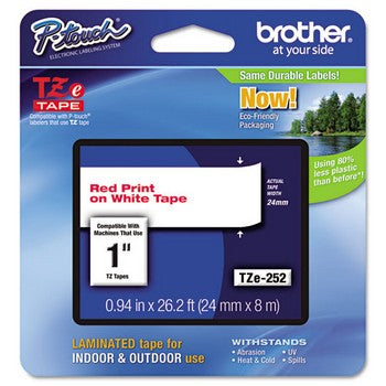 Brother TZE-252 Labeling Tape, 1w, Red on White