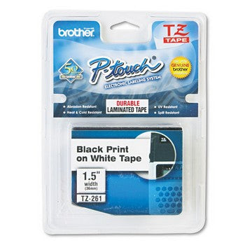 Brother TZE-261 Labeling Tape, 1-1/2w, Black on White